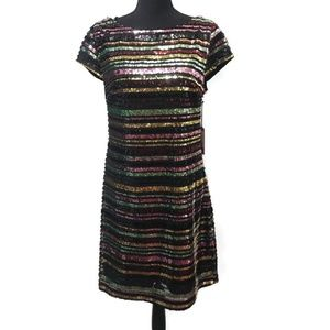 NWT Vince Camuto Striped Sequin Dress Sz. 10